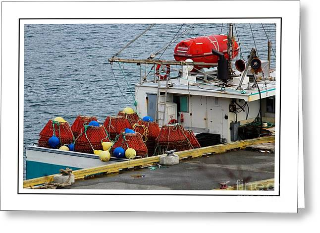 """""""crab Nets"""" Greeting Cards - Traps and Buoys Ready for Crab Fishing 2 with Borders Greeting Card by Barbara Griffin"""