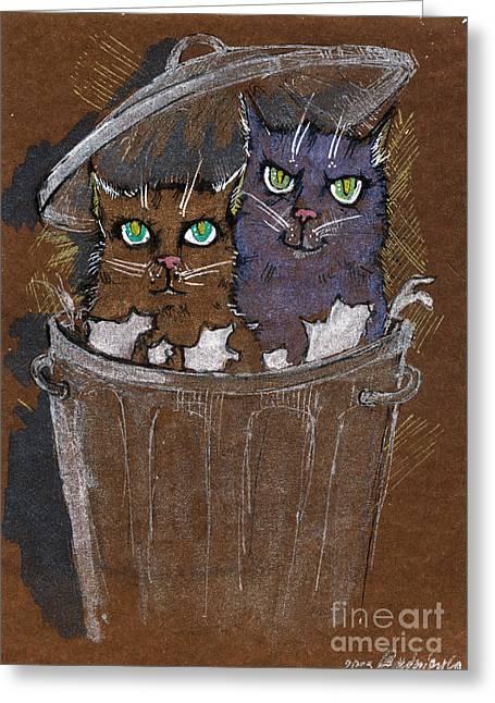 Cat Drawings Greeting Cards - Trash Cats Greeting Card by Angel  Tarantella