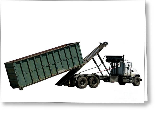 White Truck Greeting Cards - Trash Truck Greeting Card by Olivier Le Queinec
