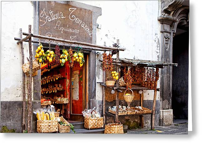 Basket Photographs Greeting Cards - Tratorria in Italy Greeting Card by Susan  Schmitz