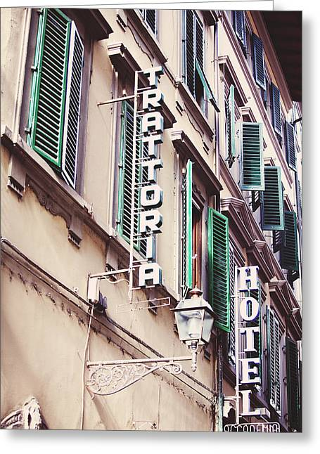 Italian Kitchen Greeting Cards - Trattoria Hotel Shop Sign Greeting Card by Kim Fearheiley