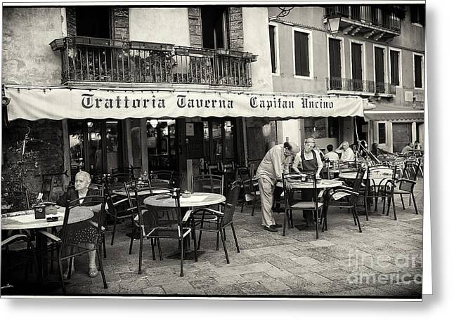 Waitress Photographs Greeting Cards - Trattoria in Venice  Greeting Card by Madeline Ellis