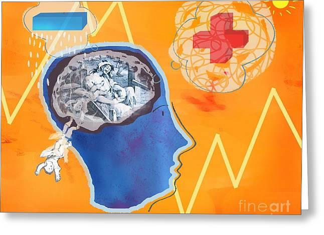 Mental Process Greeting Cards - Trauma, Conceptual Artwork Greeting Card by Glyn Goodwin