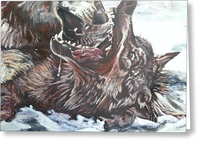 Trauma With Wolf Greeting Card by Michael African Visions