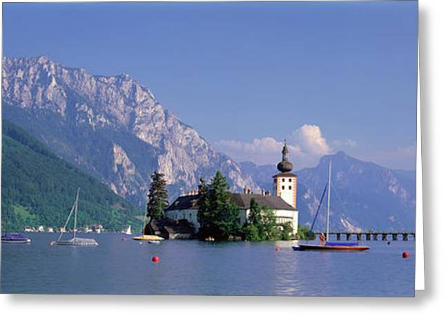Blue Sailboats Greeting Cards - Traunsee Lake Gmunden Austria Greeting Card by Panoramic Images