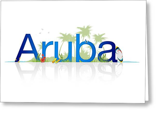 Flight Drawings Greeting Cards - Travel Aruba Greeting Card by Aged Pixel