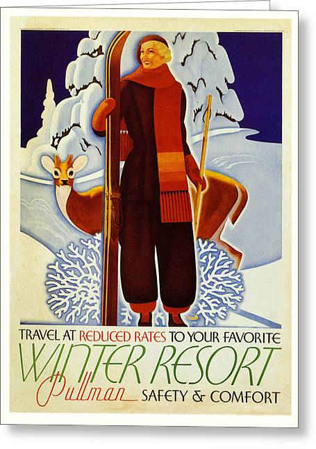 Skiing Poster Greeting Cards - Travel At Reduced rates - Pullman Greeting Card by Nomad Art And  Design