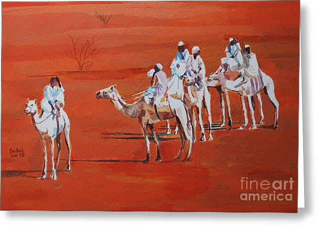 Mohamed Fadul Greeting Cards - Travel by camels Greeting Card by Mohamed Fadul