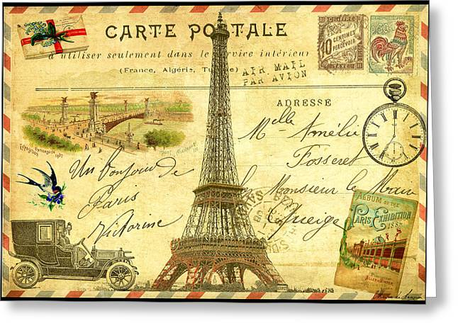 Victorian Greeting Cards - Travel Diary Paris Greeting Card by Marion De Lauzun