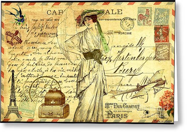 Recently Sold -  - Victorian Greeting Cards - Travel diary woman Greeting Card by Marion De Lauzun