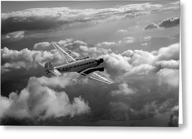 Ju 52 Greeting Cards - Travel in an age of elegance black and white version Greeting Card by Gary Eason