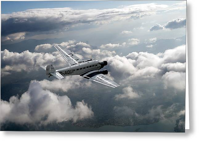 Ju 52 Greeting Cards - Travel in an age of elegance Greeting Card by Gary Eason