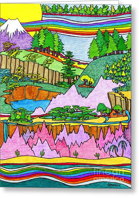 British Columbia Drawings Greeting Cards - Travel - North to South Greeting Card by Mag Pringle Gire