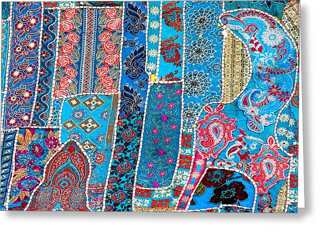 World Series Art Print Greeting Cards - Travel Shopping Colorful Tapestry 2 India Rajasthan Greeting Card by Sue Jacobi