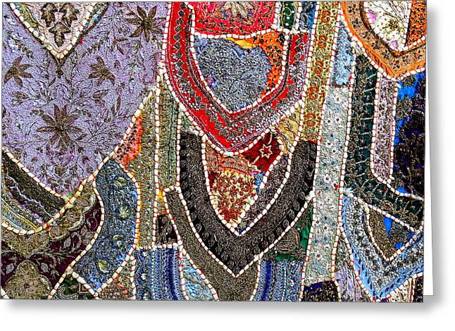 World Series Art Print Greeting Cards - Travel Shopping Colorful Tapestry 6 India Rajasthan Greeting Card by Sue Jacobi