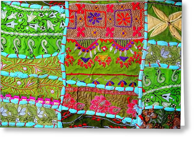 World Series Art Print Greeting Cards - Travel Shopping Colorful Tapestry Series 10 India Rajasthan Greeting Card by Sue Jacobi