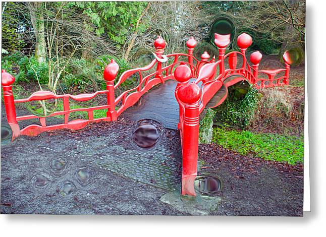 Generative Abstract Photographs Greeting Cards - The Red Dragon Bridge Greeting Card by Dave Byrne