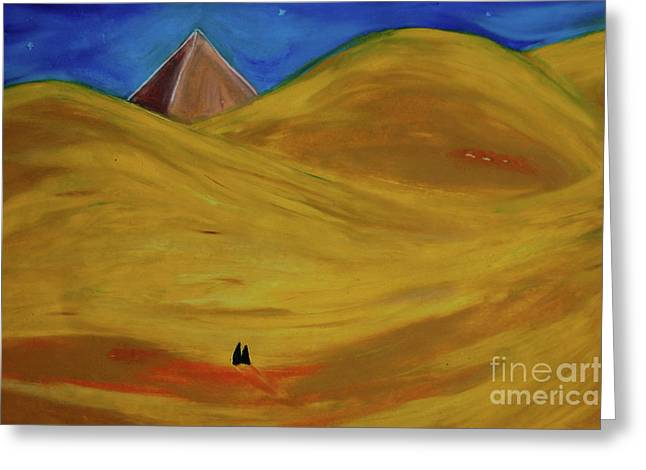 Mystical Landscape Pastels Greeting Cards - Travelers Desert Greeting Card by First Star Art