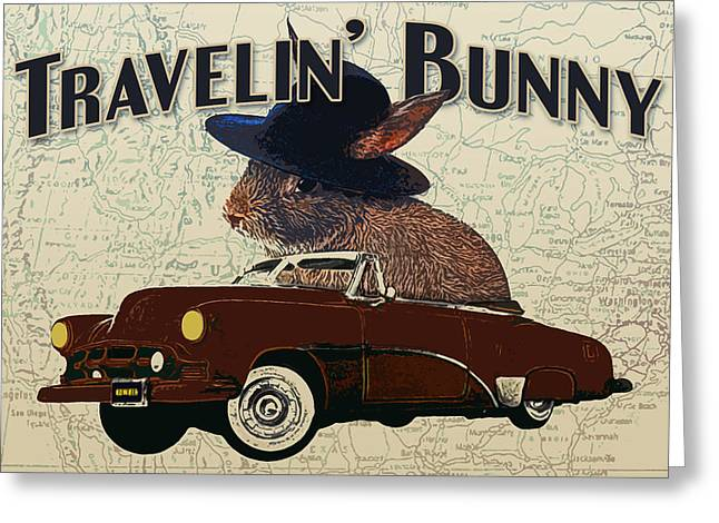 Travelin' Bunny Greeting Card by Flo Karp