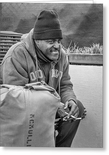 Body Language Greeting Cards - Travelin Man bw Greeting Card by Steve Harrington