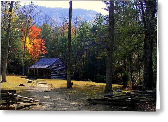 Old Wood Cabin Greeting Cards - Traveling Back In Time Greeting Card by Karen Wiles