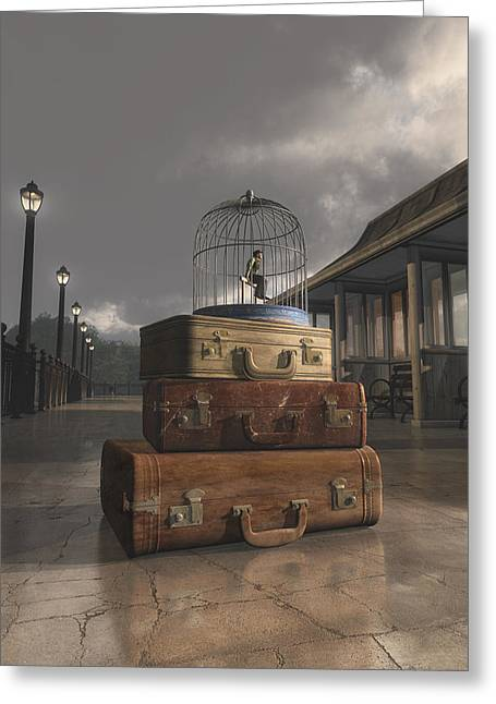 Bird Cages Greeting Cards - Traveling Greeting Card by Cynthia Decker