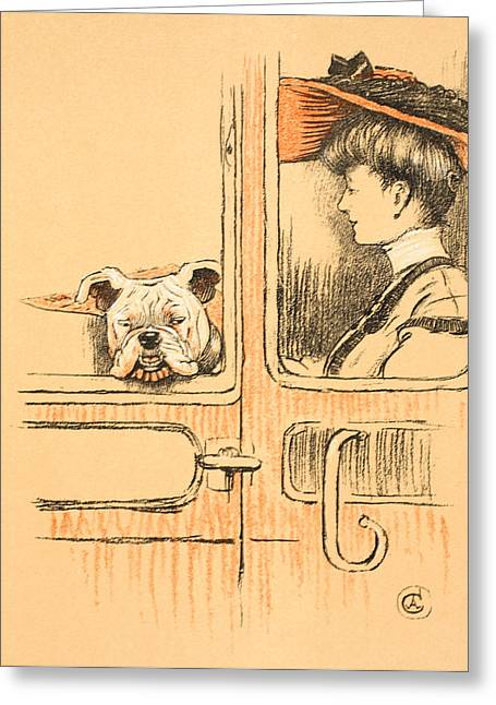 Out-of-style Greeting Cards - Traveling in First Class Greeting Card by Cecil Charles Windsor Aldin