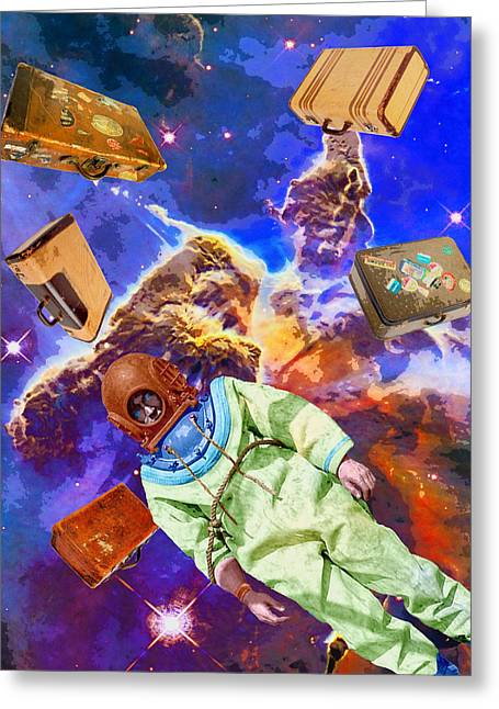 Interstellar Space Mixed Media Greeting Cards - Traveling Light Greeting Card by Dominic Piperata
