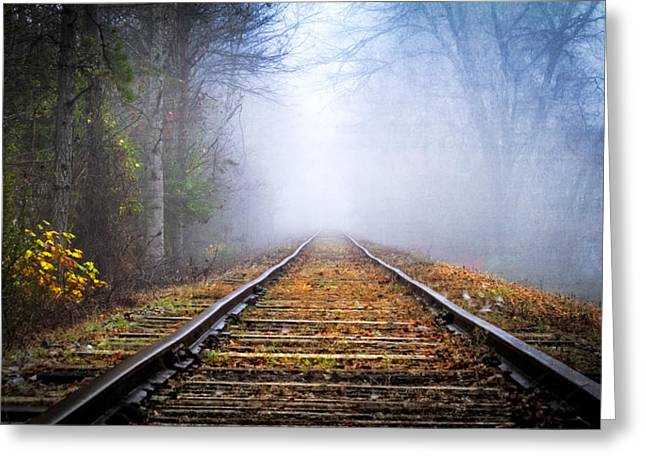 Old Country Roads Greeting Cards - Traveling on the Tracks Greeting Card by Debra and Dave Vanderlaan