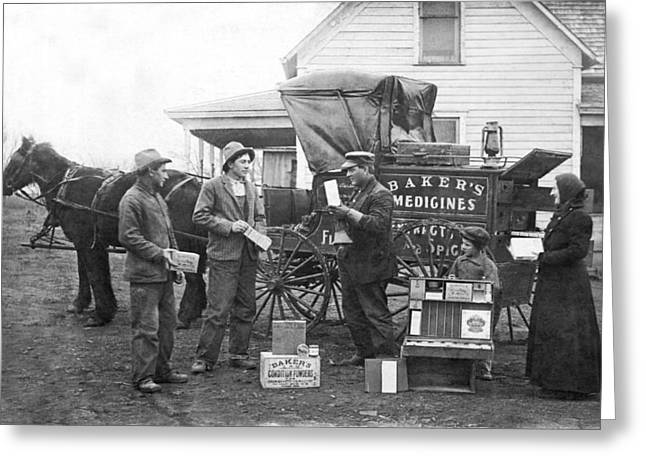 Farm Stand Greeting Cards - Traveling Salesman Greeting Card by Underwood Archives