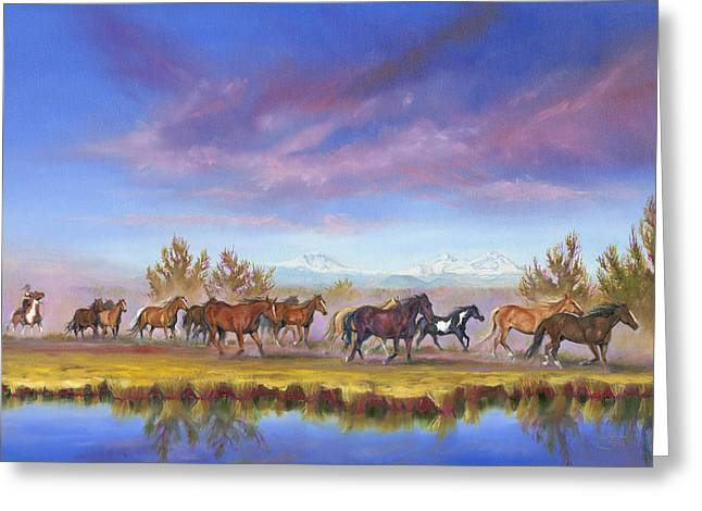 Pat Cross Greeting Cards - Traveling the Deschutes Greeting Card by Pat Cross
