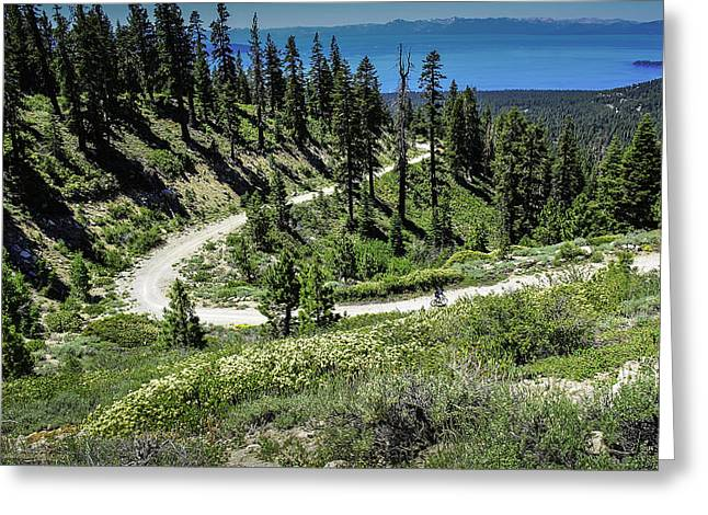 Mount Rose Highway Greeting Cards - Traveling the Mt. Rose Highway Scenic Overlook hiking trail Greeting Card by LeeAnn McLaneGoetz McLaneGoetzStudioLLCcom