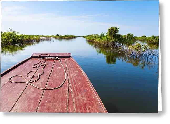 Tonle Greeting Cards - Traveling through Tonle Sap Lake Greeting Card by Alexey Stiop