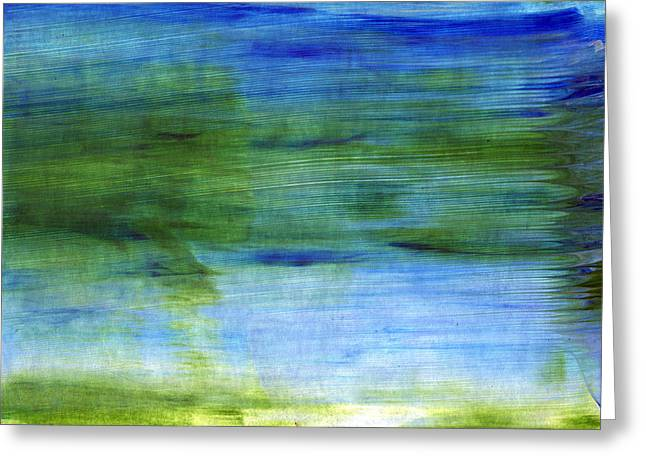 Blue And Green Greeting Cards - Traveling West Greeting Card by Linda Woods