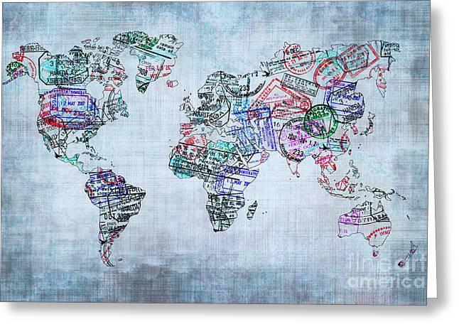 Vintage World Map Greeting Cards - Traveller world map Greeting Card by Delphimages Photo Creations