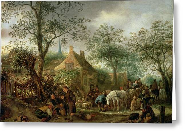 Traveller Greeting Cards - Travellers At An Inn Greeting Card by Isack van Ostade
