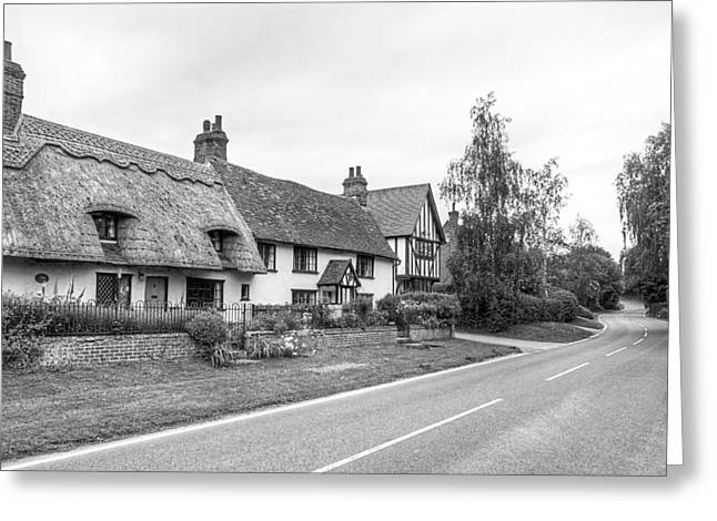 Old Country Roads Greeting Cards - Travellers Delight - English Country Road Black and White Greeting Card by Gill Billington