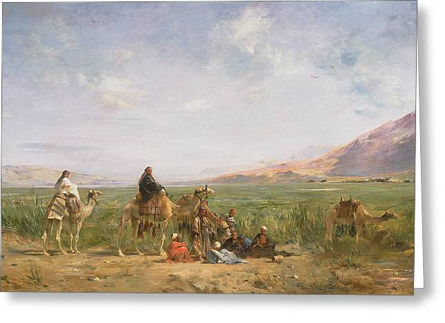 Camels Greeting Cards - Travellers Resting At An Oasis Greeting Card by Eugene Fromentin