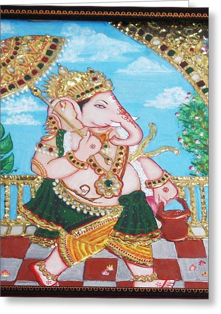 Kami A Greeting Cards - Travelling Ganesh Greeting Card by Jayashree