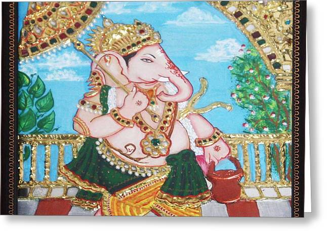 Travelling Ganesh Greeting Card by Jayashree