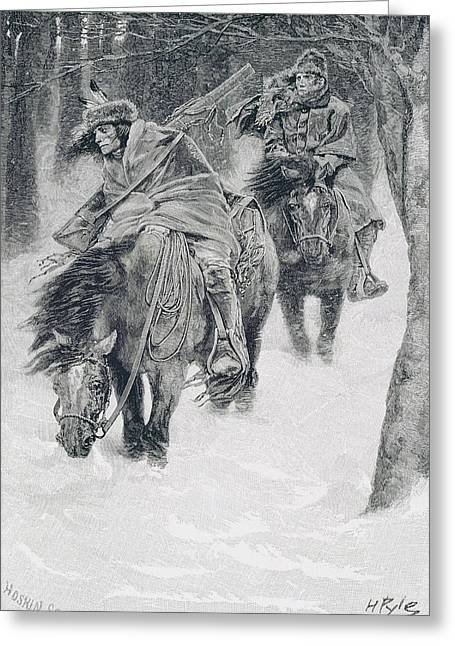 Brandywine Greeting Cards - Travelling In Frontier Days, Illustration From The City Of Cleveland By Edmund Kirke, Pub Greeting Card by Howard Pyle