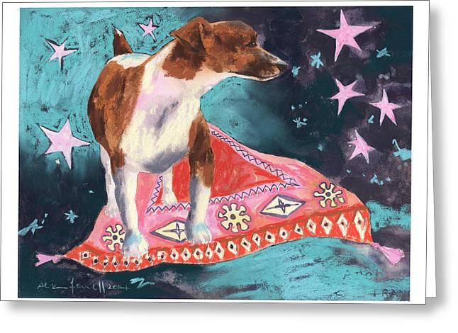 Persian Illustration Greeting Cards - Travelling Terrier Greeting Card by Alison Fennell