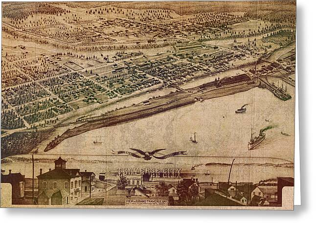 1879 Greeting Cards - Traverse City Michigan Vintage 1879 Map Aerial View of Grand Traverse Bay on Worn Parchment Greeting Card by Design Turnpike