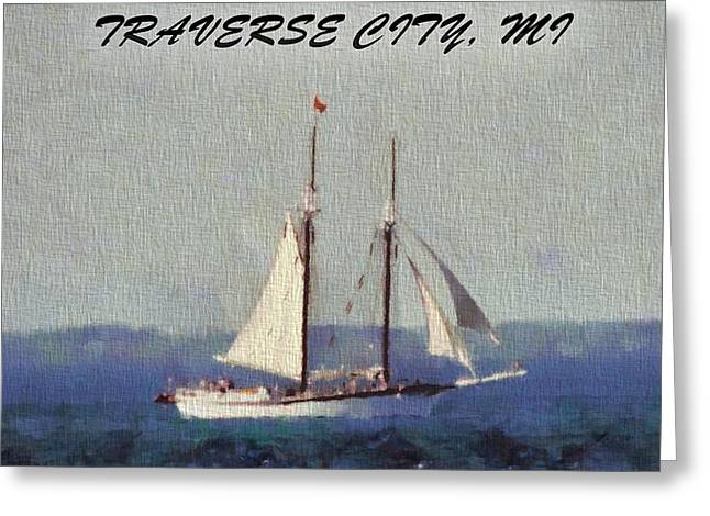 Recreation Mixed Media Greeting Cards - Traverse City Postcard Greeting Card by Dan Sproul