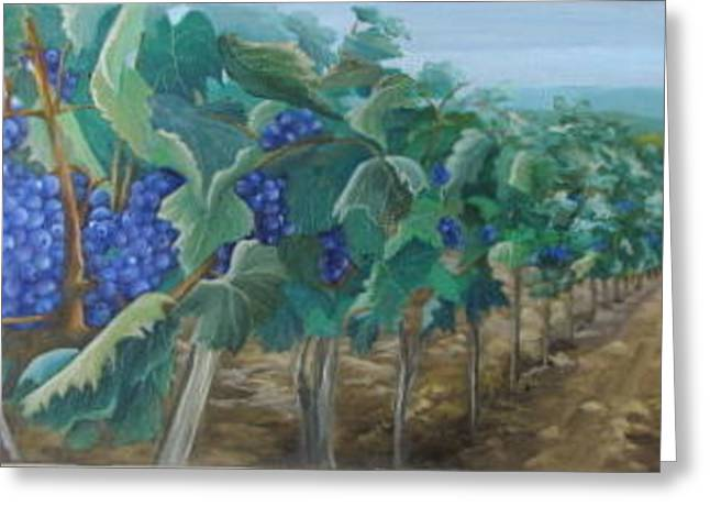 Blue Grapes Greeting Cards - Traverse City Wine Greeting Card by Rebecca Hauschild