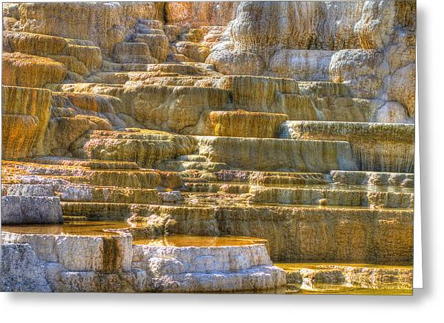 Geyser Greeting Cards - Travertine Terrace Greeting Card by Jeff Donald