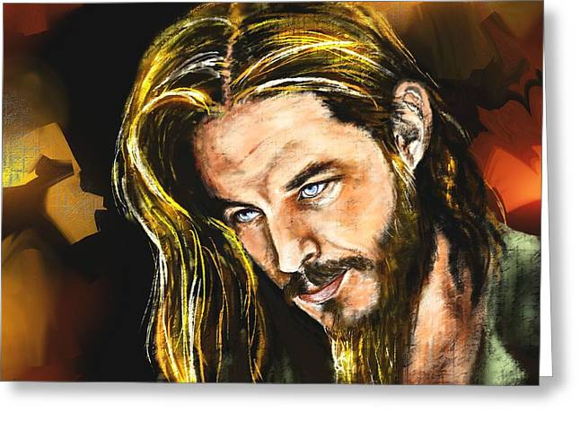 Vikings Paintings Greeting Cards - Travis Greeting Card by Francoise Dugourd-Caput