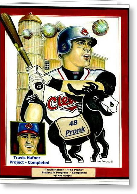 Pronk Greeting Cards - Travis Hafner Grand Slam Greeting Card by Ray Tapajna
