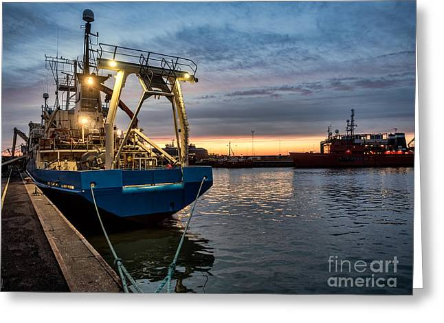Trawler In Esbjerg Oil Harbor Greeting Card by Frank Bach