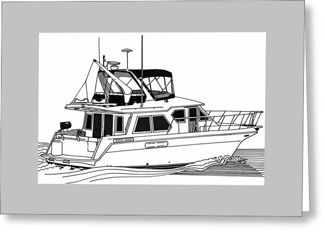 Boat Cruise Drawings Greeting Cards - Trawler Yacht Greeting Card by Jack Pumphrey